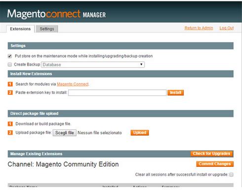 Terzo step ed ultimo per installare Magento in Italiano
