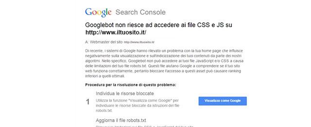 alert googlebot risorse bloccate