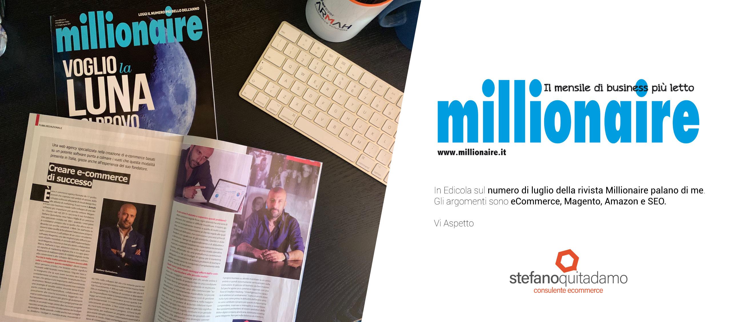 Intervista a Stefano Quitadamo su Millionaire Luglio/Agosto